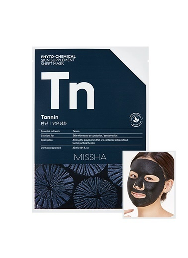 Missha Phytochemical Skin Supplement Sheet Mask (Tannin/Purifying) Renksiz